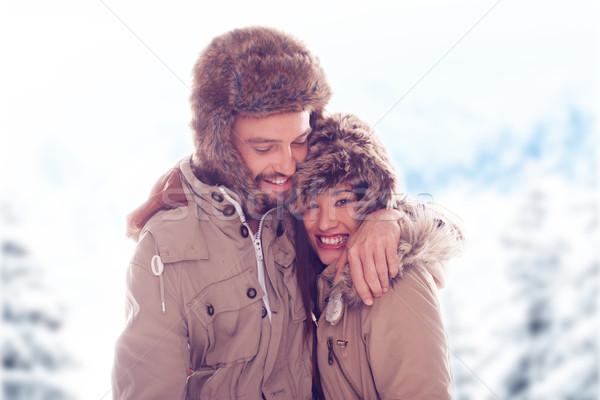 Amoroso Pareja aire libre nieve paisaje Foto stock © stryjek