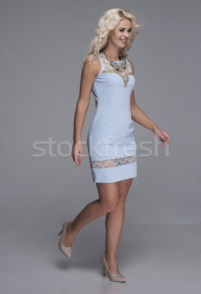 beauty, fashion and young woman in blue dress Stock photo © stryjek