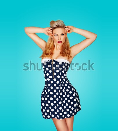 Hot woman wearing red polka dots dress with black stiletto Stock photo © stryjek