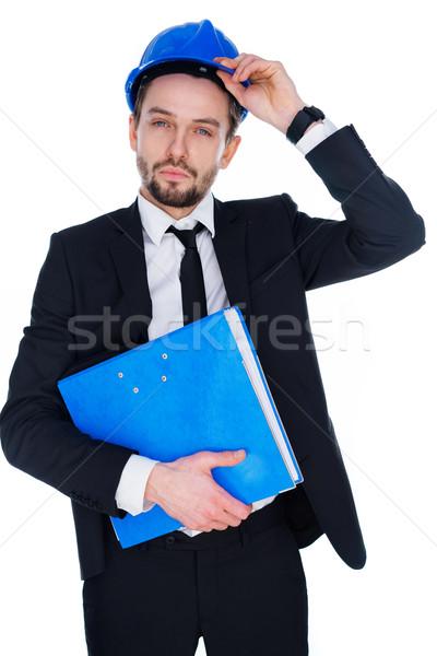 építész mérnök visel munkavédelmi sisak öltöny áll Stock fotó © stryjek