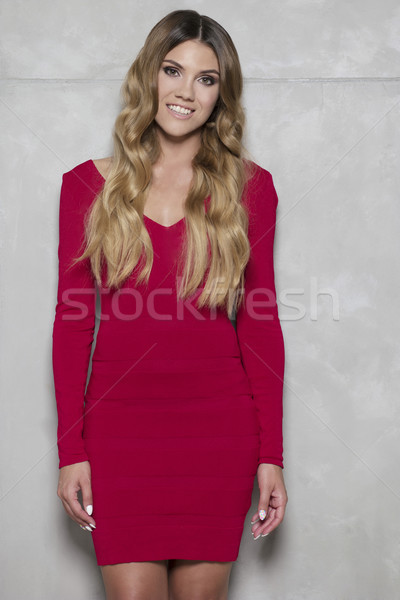 beautiful woman with red lips and curly hair wearing dress Stock photo © stryjek