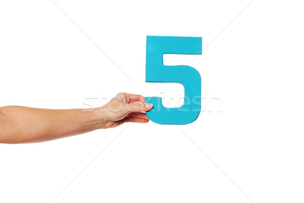 Hand aantal vijf vrouwelijke witte Stockfoto © stryjek