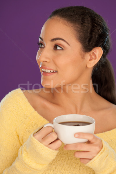 Foto d'archivio: Bella · donna · bere · tè · Cup · caffè · guardando