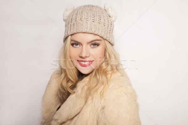 Beautiful blond girl in winter fashion Stock photo © stryjek