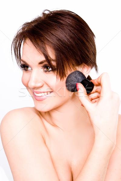 Tinilány jelentkezik smink boldog lány arc Stock fotó © stryjek