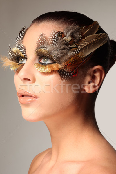 Decorative feather make-up like the wing of a bird Stock photo © stryjek