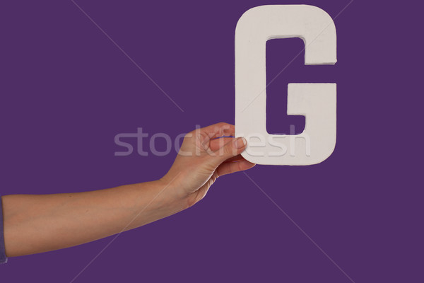 Female hand holding up the letter G from the left Stock photo © stryjek