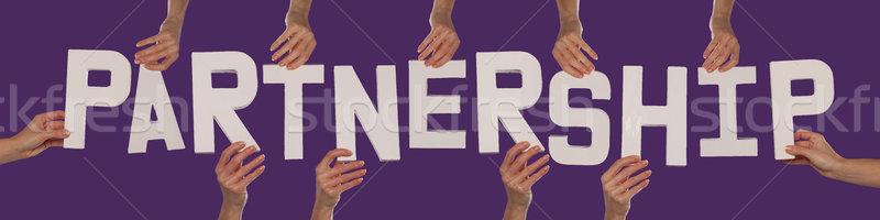 Biały alfabet pisownia współpraca w górę fioletowy Zdjęcia stock © stryjek
