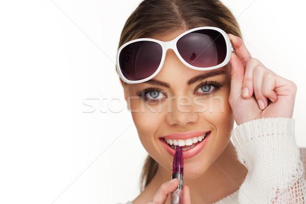 Feliz mujer fumar gafas de sol nina Foto stock © stryjek