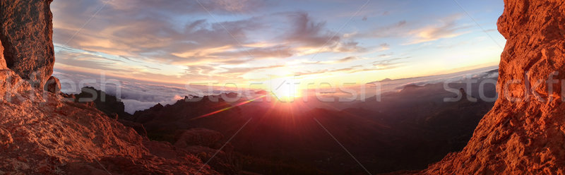 Fiery sunrise over a mountain landscape Stock photo © stryjek