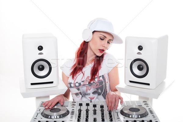 Genç kadın müzik mikser güzel Stok fotoğraf © stryjek