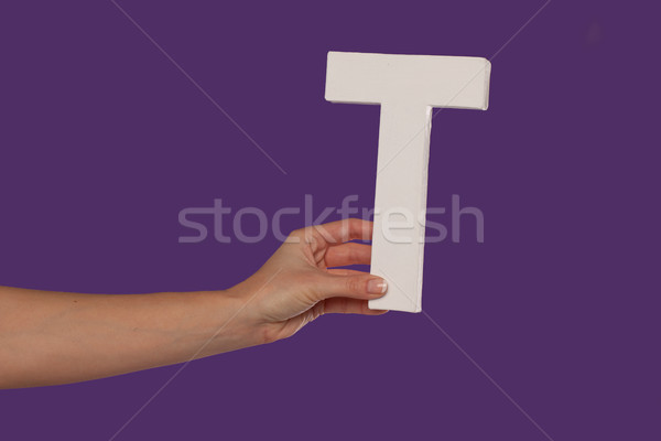 Female hand holding up the letter T from the left Stock photo © stryjek