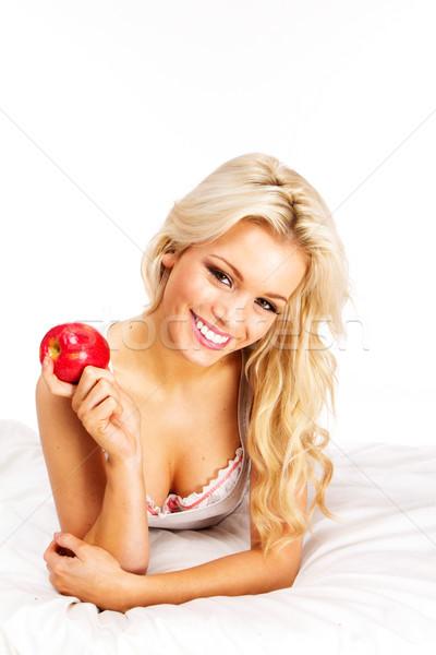 Foto stock: Manzana · hermosa · manzana · roja · cama