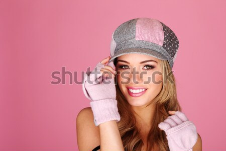 Smiling Woman In Winter Accessories Stock photo © stryjek