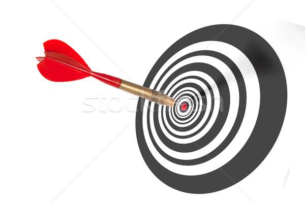 Pens merkez tahta kırmızı göz başarı Stok fotoğraf © stryjek
