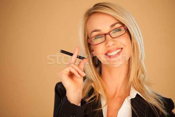 Attractive professional woman smoking Stock photo © stryjek
