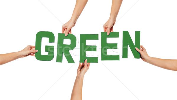 зеленый алфавит правописание вверх изолированный белый Сток-фото © stryjek