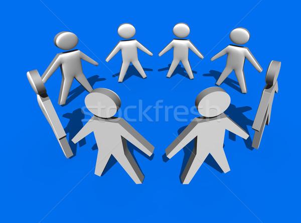 Kör emberek 3D kék csapatmunka üzlet Stock fotó © stryjek
