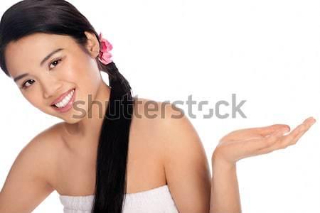 Gyönyörű mosolygó nő tart ki pálma mosolyog Stock fotó © stryjek