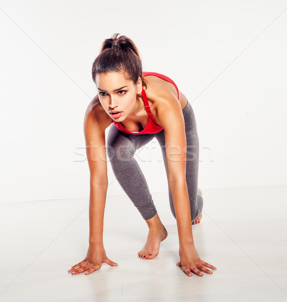 Athletic woman in starter position Stock photo © stryjek