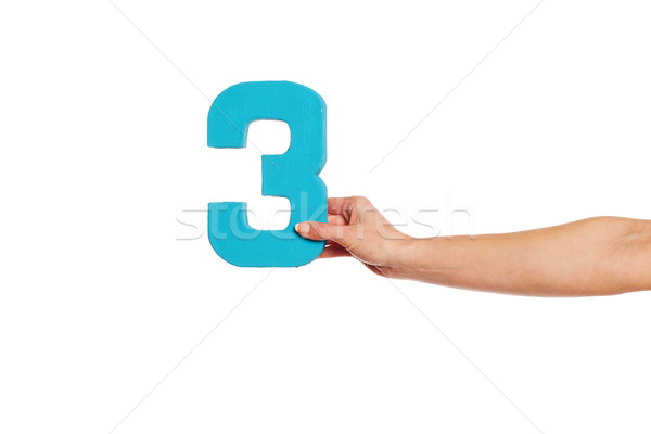 hand holding up the number three from the right Stock photo © stryjek
