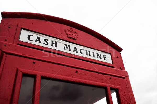 Red telephone booth converted to cash machine Stock photo © stryjek
