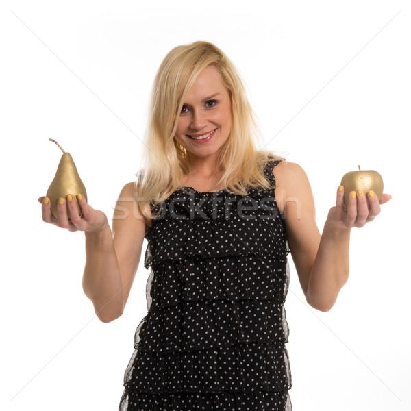 Belle femme or fruits mains élégant Photo stock © stryjek