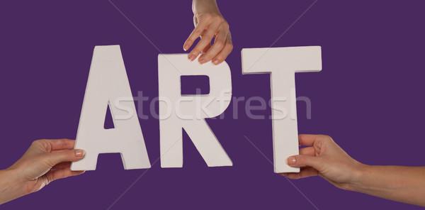 Branco alfabeto ortografia arte para cima roxo Foto stock © stryjek