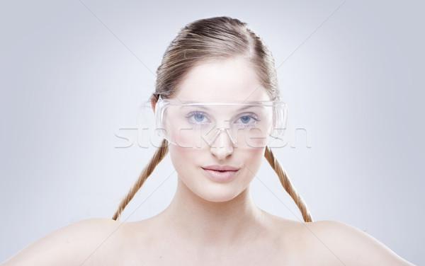 Nő visel védőszemüveg műanyag szemüveg fiatal Stock fotó © stryjek