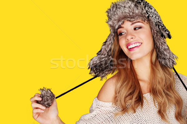 Pretty Young Blonde Playing With Pompom Stock photo © stryjek