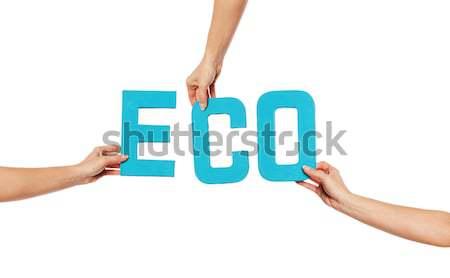 Zöld ábécé helyesírás öko felfelé izolált Stock fotó © stryjek