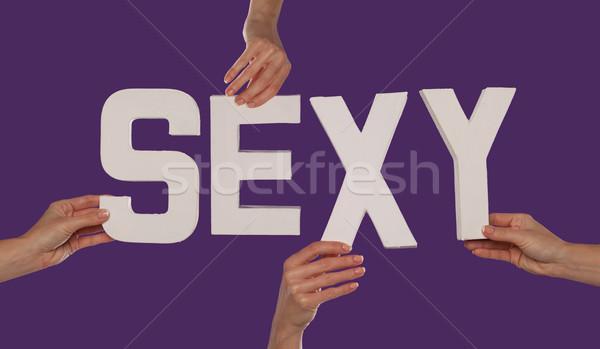 белый алфавит правописание Sexy вверх Purple Сток-фото © stryjek