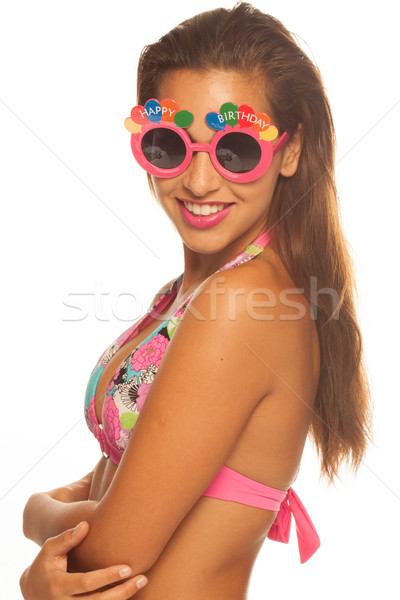 Stockfoto: Meisje · vieren · verjaardag · zonnebril · witte
