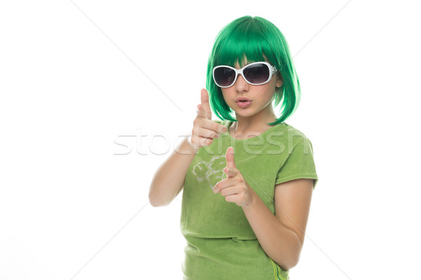 Close up Young Green Hair Girl on Fashion Pose Stock photo © stryjek