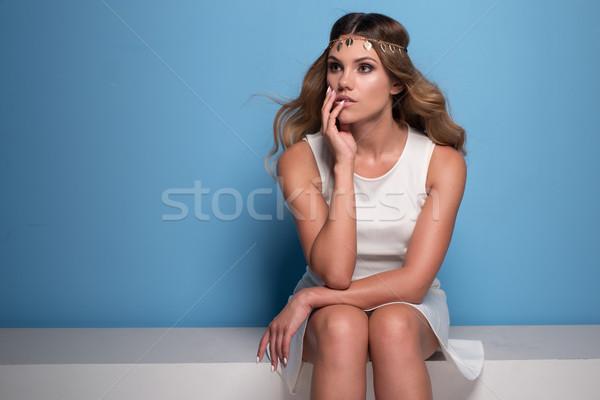 красивая женщина белое платье ретро женщину синий Сток-фото © stryjek
