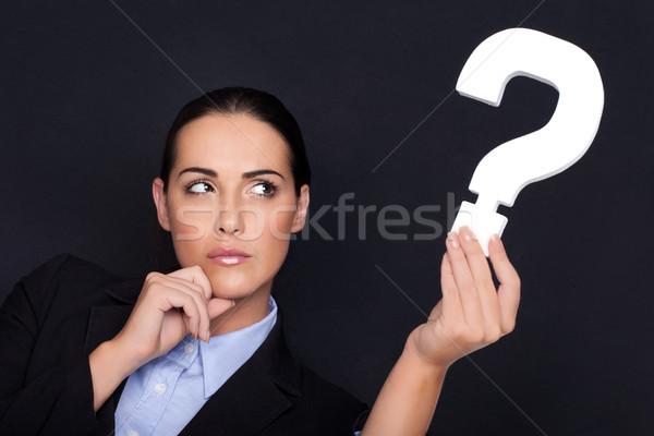 Kobieta interesu znak zapytania piękna zamyślony biały Zdjęcia stock © stryjek