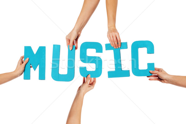 Turquoise alphabet lettering spelling MUSIC Stock photo © stryjek