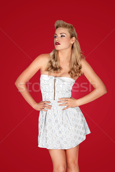 Bella retro modello minigonna moda Foto d'archivio © stryjek