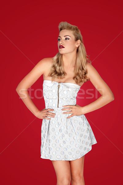 Mooie retro blond model minirok mode Stockfoto © stryjek