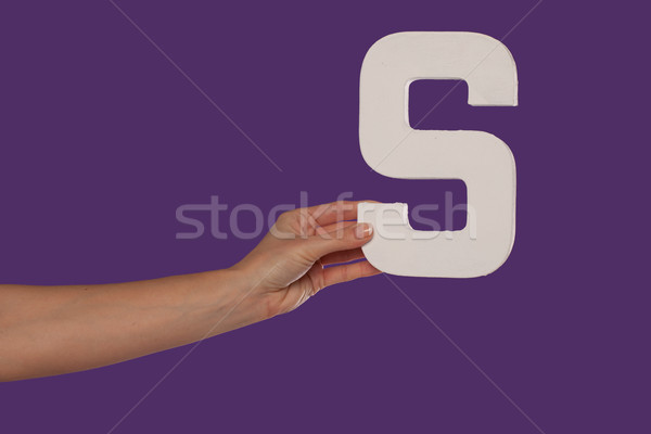 Female hand holding up the letter S from the left Stock photo © stryjek