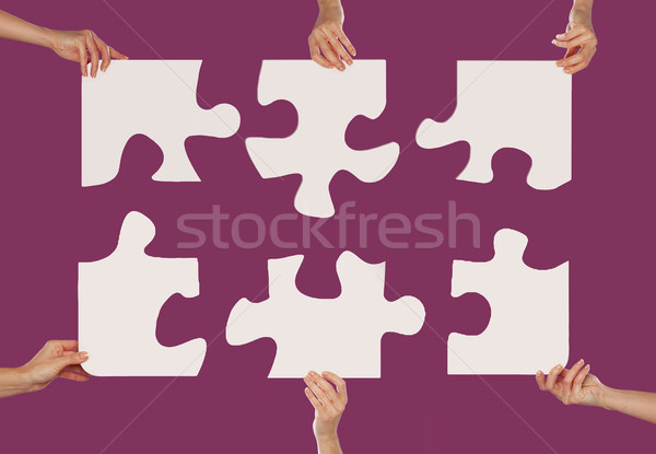 Mani puzzle globale business texture Coppia Foto d'archivio © stryjek