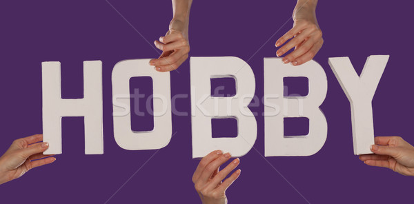 White alphabet lettering spelling HOBBY Stock photo © stryjek