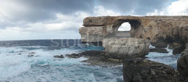 лазурный окна известный каменные арки острове Сток-фото © stryjek