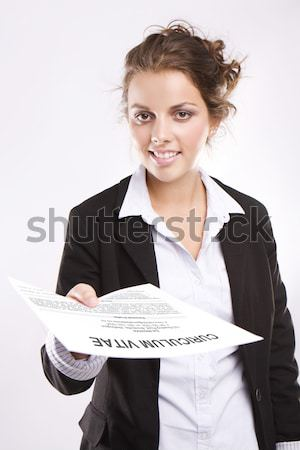 Attractive Blonde Businesswoman With File Stock photo © stryjek