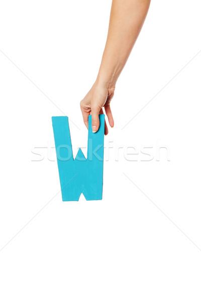 Hand brief top vrouwelijke hoofdletter Stockfoto © stryjek