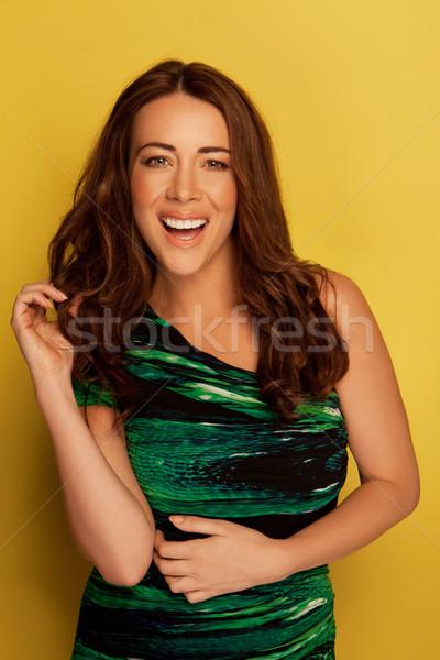 Mulher festa vestir risonho alegremente verde Foto stock © stryjek