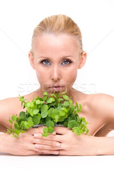 Schoonheid vers mooie vrouw groene plant Stockfoto © stryjek