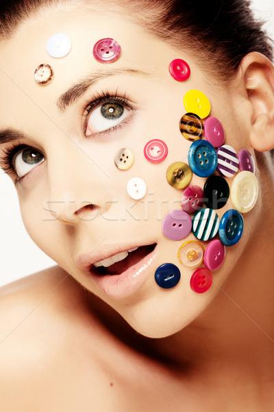 Gyönyörű nő gombok arc közelkép portré különböző Stock fotó © stryjek