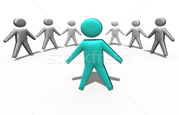 Chef d'équipe foule affaires 3d illustration fond groupe Photo stock © stryjek