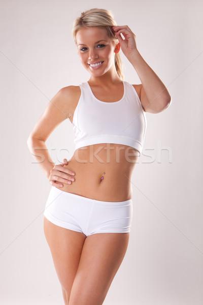 Fitness cuerpo jóvenes hermosa mujer rubia blanco Foto stock © stryjek